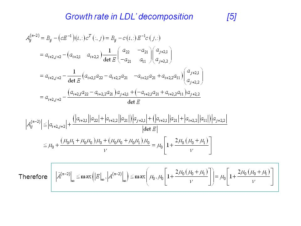 Growth rate in LDL' decomposition [5]